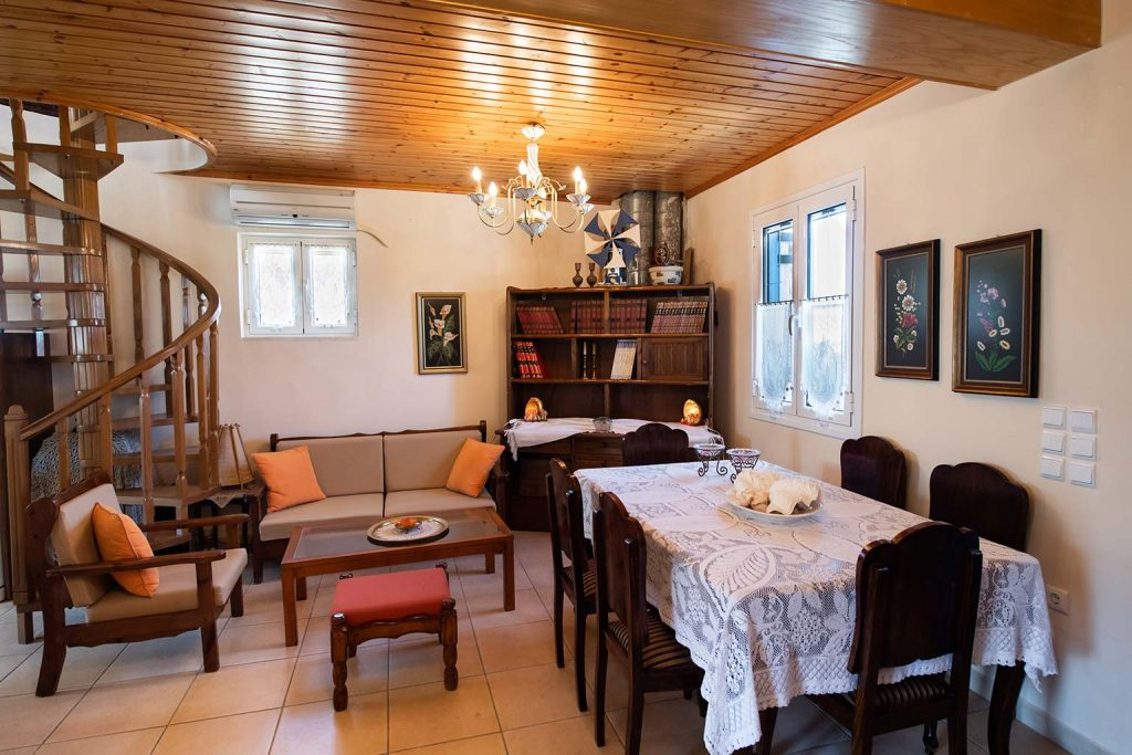lefkada accommodation living room villa loucia